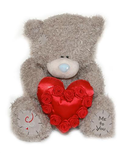 Мишка Tatty Teddy 45см - держит сердце с аппликацией из роз.