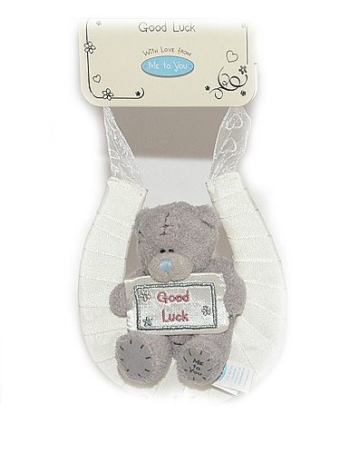 Мишка Tatty Teddy 7,5см - сидит на подкове с табличкой Good Luck