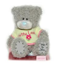 Мишка Tatty Teddy 15см -в салатовой футболке With Love (на подставке)